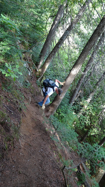 Extremely steep descent into gorge along Caribou Rock Trail, Sept. 8, 2013.  We had a wonderfully cool, dry, breezy day to do this trek.