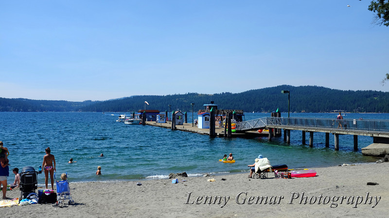 Coeur d'Alene city beach and the pier.
