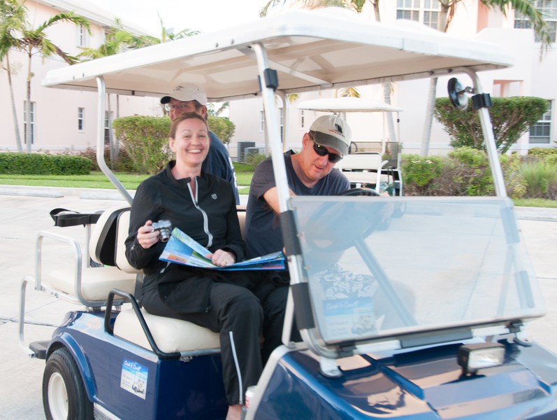 Getting our golf carts - our mode of transportation around Treasure Cay.