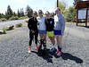 Allyn, Rachel, Sarah, Maddy, and Luna prepare to hike Pilot Butte