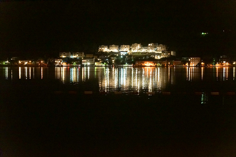 Night view across fjord