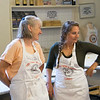 Katie and Molly at cooking school