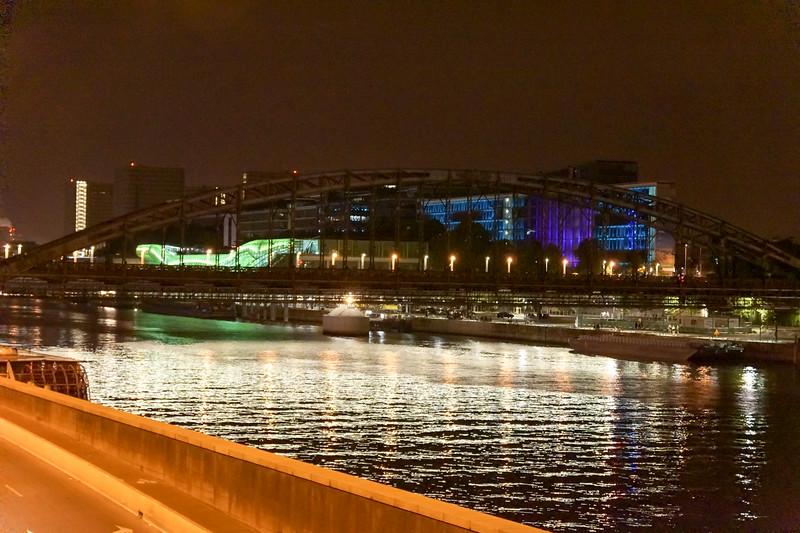 Night along Seine river