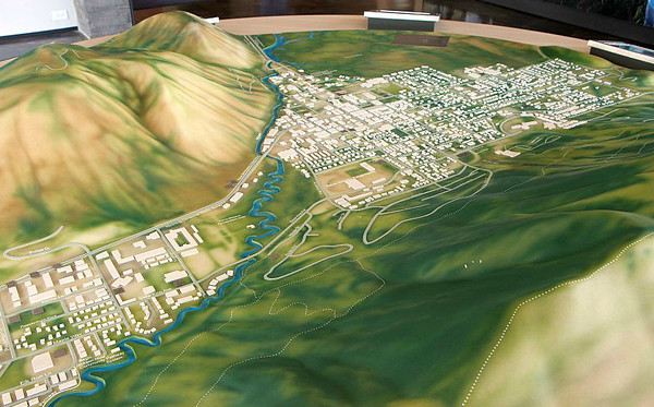 Model of the town of Jackson, WY in the Teton Visitor Center.