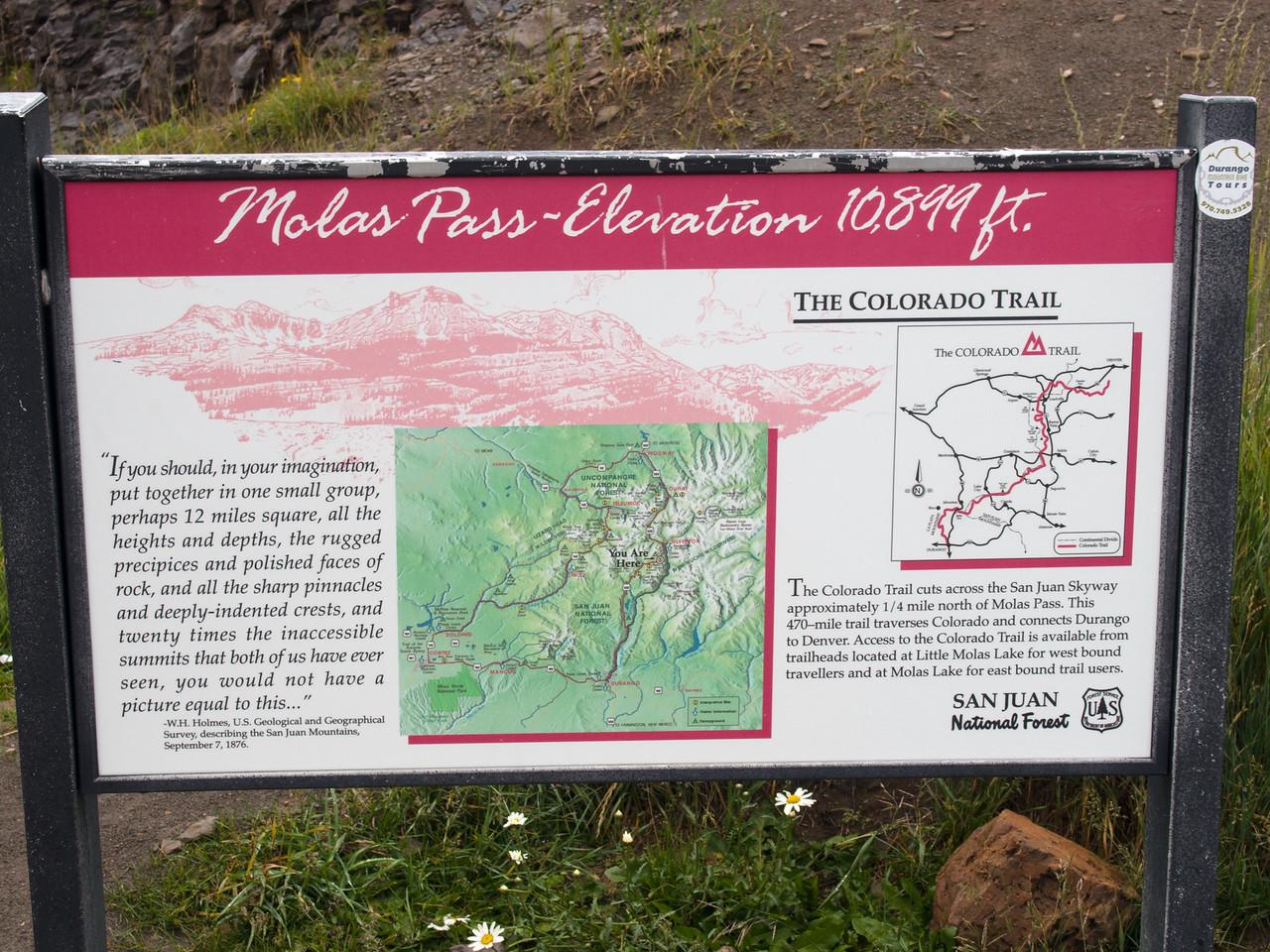 Molas Pass sign
