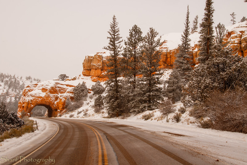 Arch over the road in Red Canyon