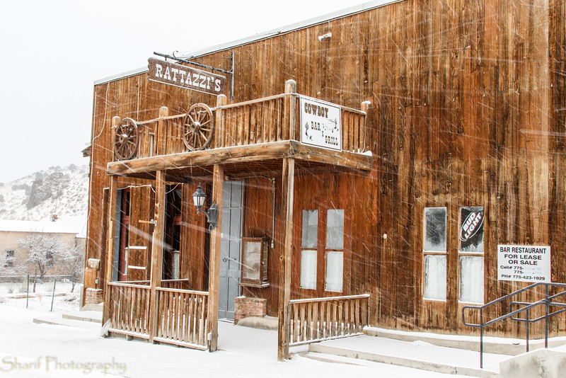 Saloon in snow flurries
