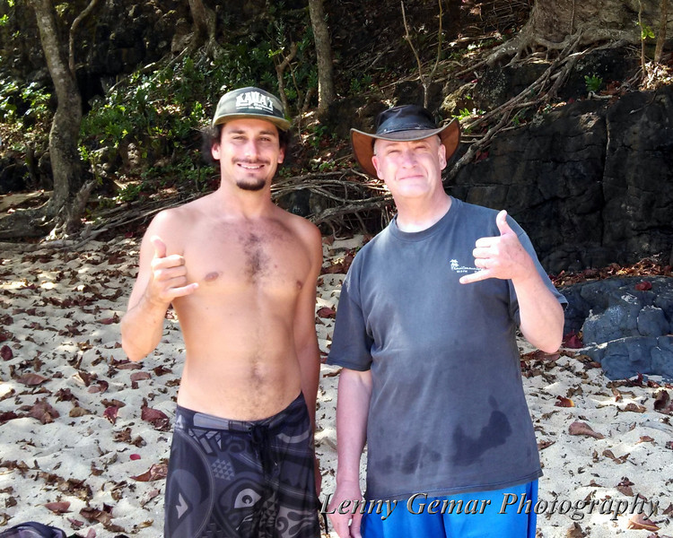 Gabe (our guide) and Lenny on Hideaways Beach.