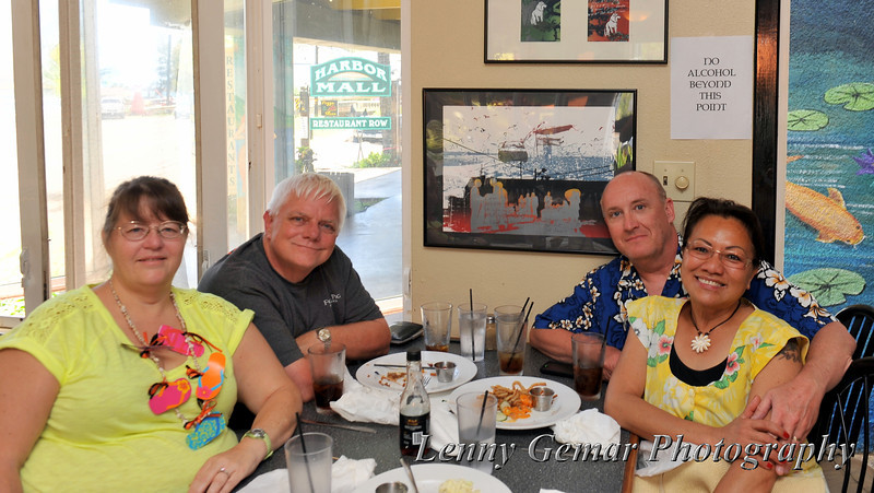 Jo and Don Root, Lenny and Claire Gemar, enjoying lunch at the Feral Pig in Lihu'e.