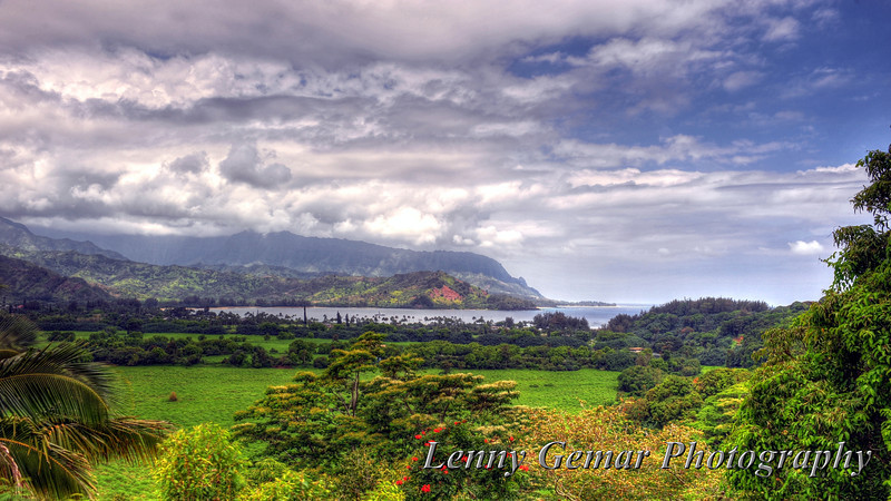 Hanalei Valley and Bay, as viewed from the Kuhio Highway lookout.