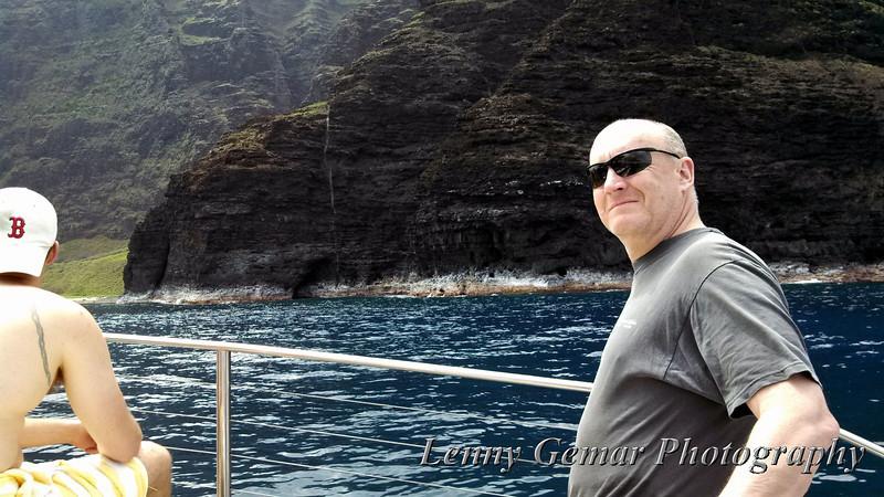 Lenny and the Na Pali coast.