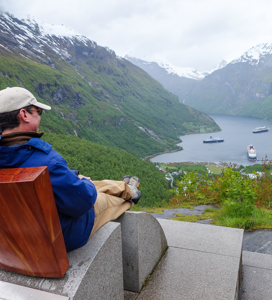 Curtis Relaxing Above Geiranger, Norway