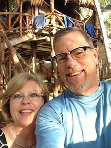 morning selfie -- our room #6 behind us