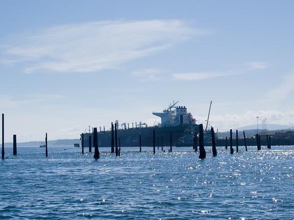 Oil tanker docked in Port Angeles for repair