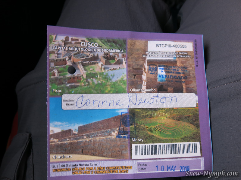 May 10, 2016  Tour pass for Sacred Valley