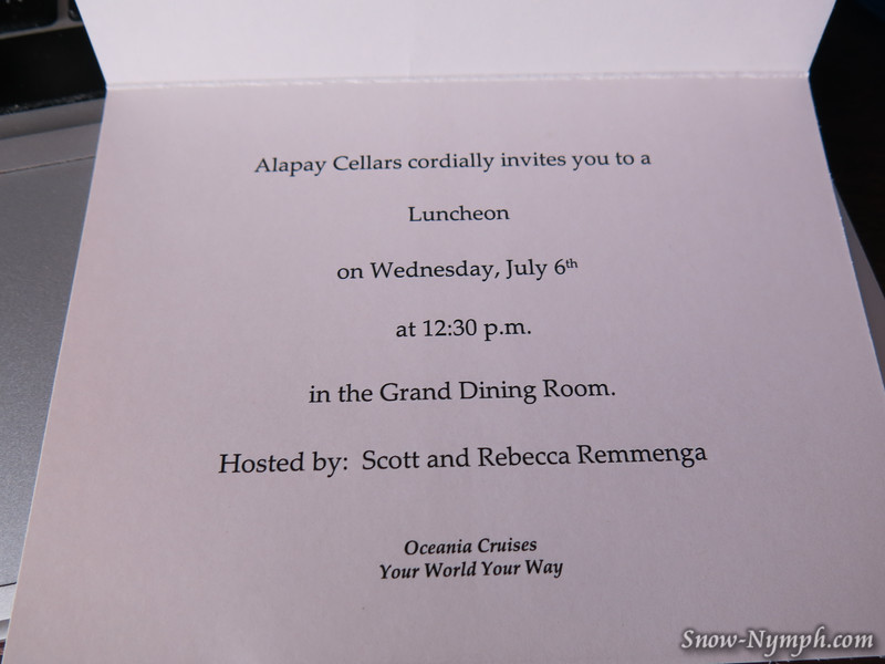 Alapay Cellars Luncheon in the Grand Dining Room, Oceania Cruises