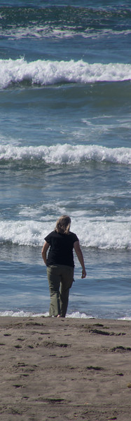 Woman and waves