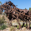 Horse sculpture made of recycled metal objects