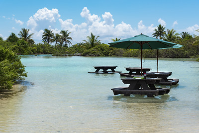 Our picnic tables in a beautiful lagoon