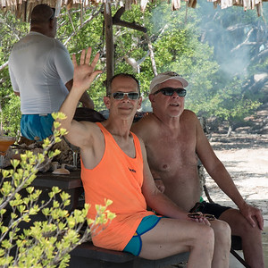 Keith and Bill - relaxing in the shade while waiting for lunch