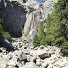 This is the view of Lower Yosemite Falls from the bridge over the creek.  There's no water in falls and creek right now.
