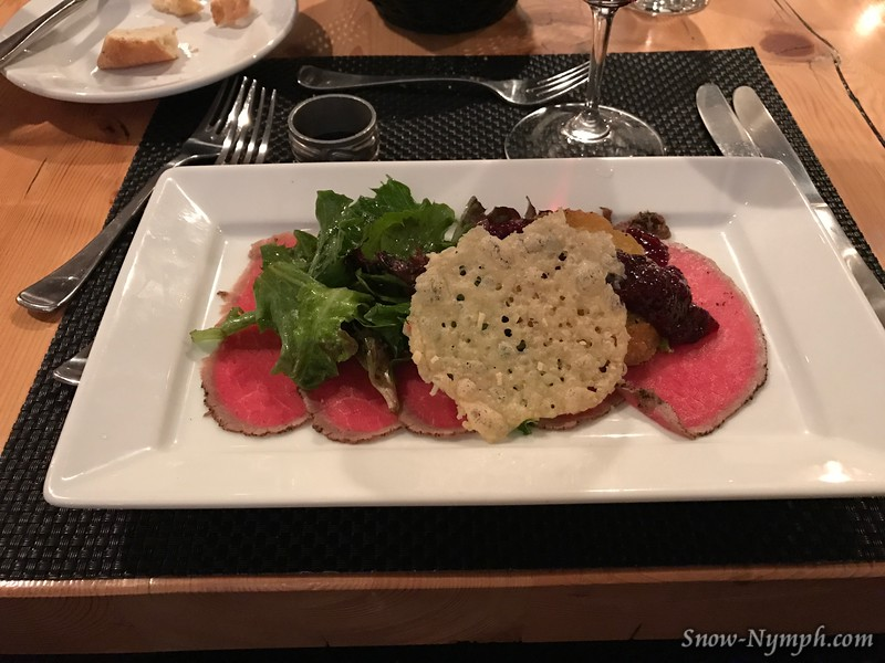 Feb 2, 2017  Appetizer: Peppercorn Crusted Bison Capaccio, Blackberry, Cranberry, Truffle