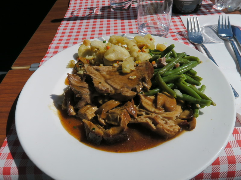 Second course:  Oberhalstein roast veal on a rich Malan rich wine jus with mushrooms, Pizzoccheri with cubed vegetables, green beans with bacon
