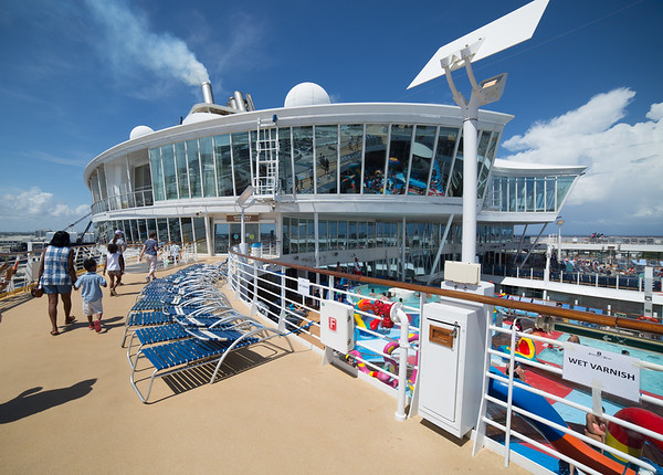 Just arrived on the Allure and we're taking our first stroll along the deck.