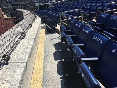 Row #1 behind home plate.  Nice padding on the seats.