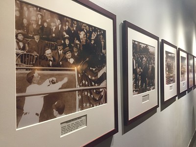 The Presidents wall.  Photo of each president.