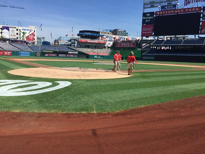 Tuning the field before tonight's game