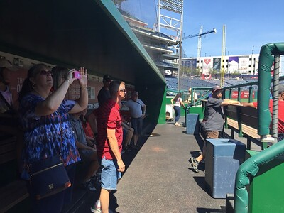 Inside the dugout.