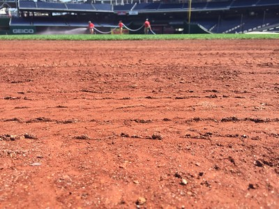The warning track is made from crushed lava rocks from New Mexico.