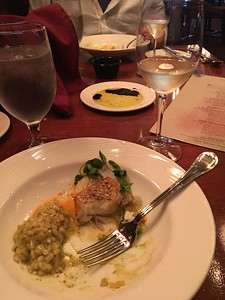 We did the chef's tasting menu with wine pairings from March. First course: halibut with risotto. Wine: Chardonnay