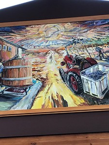 art on the wall in the Cougar Crest tasting room