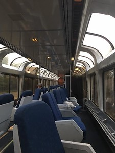 """In Spokane in the middle of the night we connected with the train from Portland- - this brought the """"lounge/viewing"""" car."""