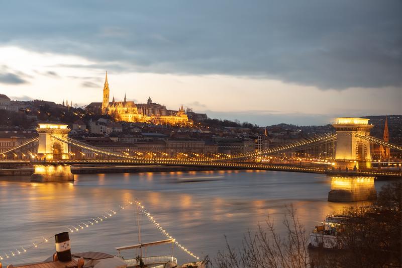 Szechenyi Chain Bridge with Matthias Church & Fisherman's Bastion - View from Room