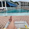 Feet up, enjoying the quiet