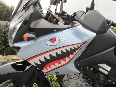 Flying Tigers graphic on a Suzuki, Carmel