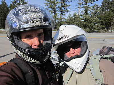 First day of 30th anniversary/2nd honeymoon moto trip, the happy couple on South Fork Mountain, Trinity County