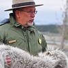 Ranger talks in Hayden Valley about wolves