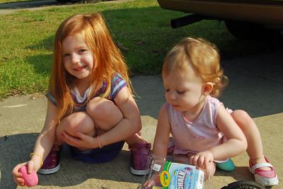 0627 Evelyn and Lillian with their sidewalk chalk