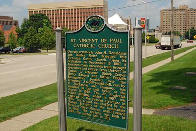 012 Historical Sign for St Vincent De Paul Church Pontiac Michigan