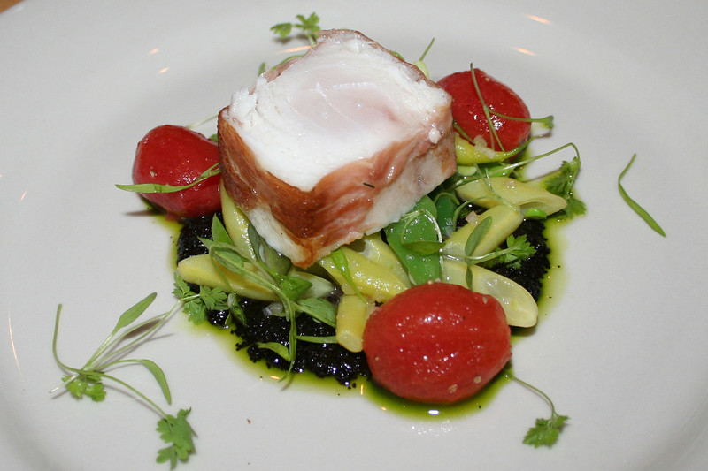 A deelish sustainable seafood dish of prosciutto-wrapped cobia