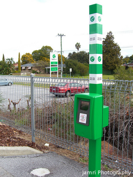 Tag On / Tag Off Machine.<br /> These un-gated unmanned stations might save money for the operator, but it can be a little confusing for the user especially when coming from Japan and almost every train station is gated and most are manned. If you muck up this tag on / tag off procedure you'll either get over charged or fined!