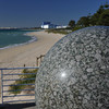 Up Close to the Water Sphere.<br /> Looking up Rockingham beach towards the grain terminal. Unfortunately there wasn't any water flowing on the water sphere on this day.