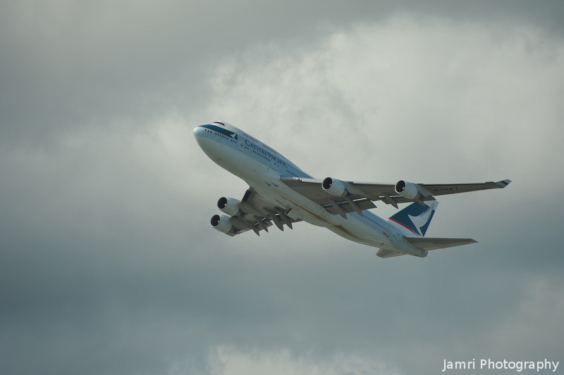 Up and Away.<br /> A Cathay Pacific B747-400 shortly after take off from Hong Kong Airport.