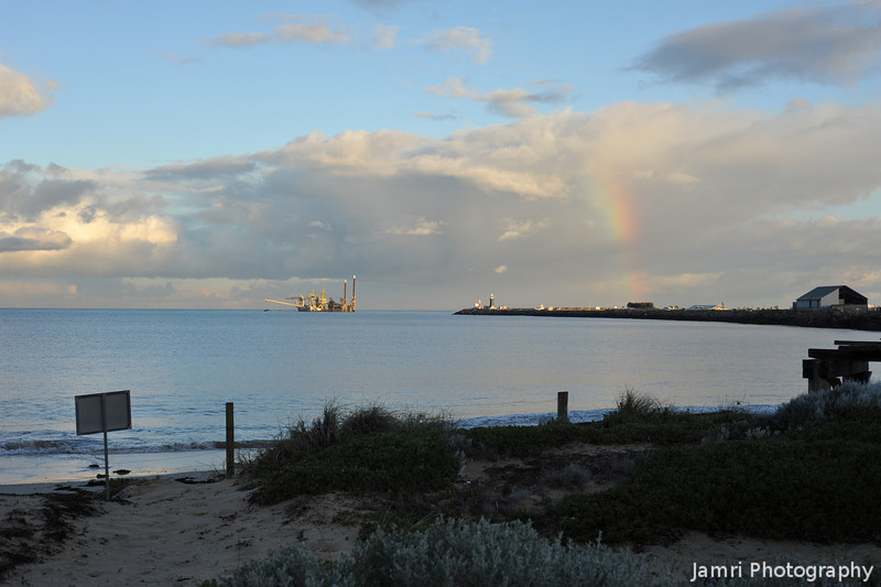 Rainbow Over South Mole.<br /> From Bather's Beach in Fremantle.