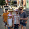 Cam and Claire getting ready for Stampede with Dave and Jackie Bennett's kids (Claire, Emily and Hannah)