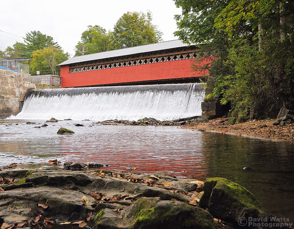 Paper Mill Covered Bridge and Waterfall, Bennington, Vermont